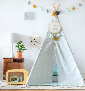 Tipi do zabawy.  Dots Mint&Grey